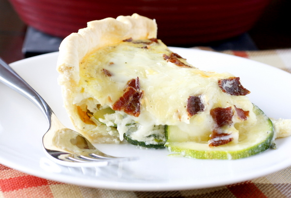 Zucchini Bacon and Mozzarella Quiche