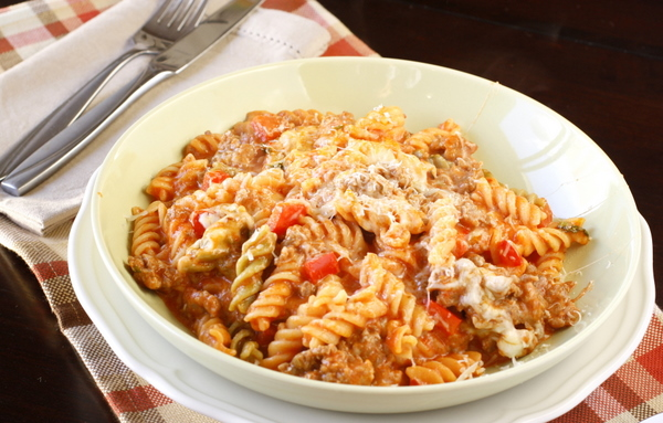 Skillet Baked Ziti with Sausage and Peppers | What Megan's Making