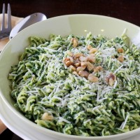 Pasta with Kale and Walnut Pesto