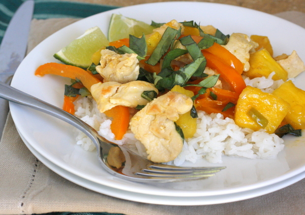 Thai Style Chicken with Basil and Pineapple