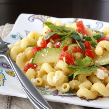 Pasta with Zucchini, Tomatoes, Bacon, and Feta