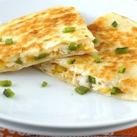 Chicken, Roasted Poblano, and Corn Quesadillas