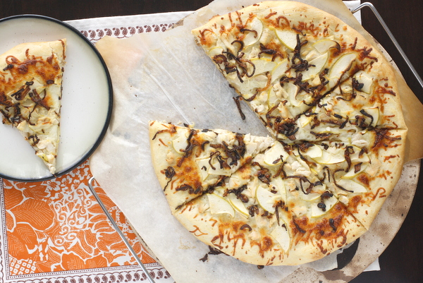 Chicken, Caramelized Onion, and Apple Pizza