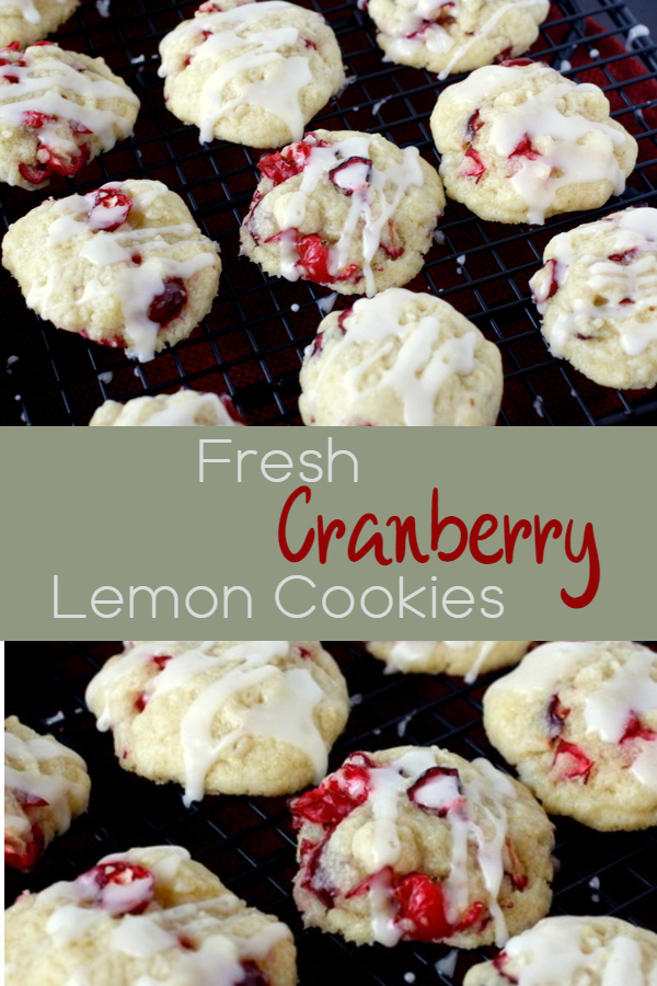 These cranberry lemon cookies are made with fresh cranberries and topped with a sweet lemon glaze!