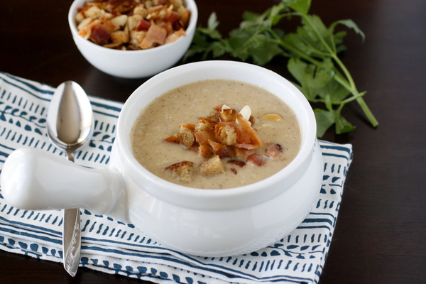 Roasted Cauliflower Soup with Bacon and Toasted Breadcrumbs