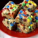 Thick and Chewy M&M Cookie Bars
