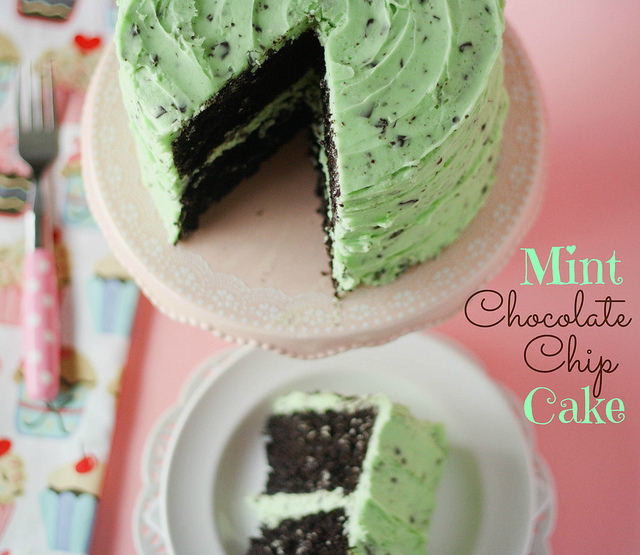 First up we have a fabulous looking mint chocolate chip cake from ...