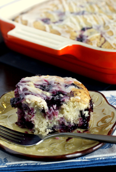 Blueberry Breakfast Cake with Lemon Glaze