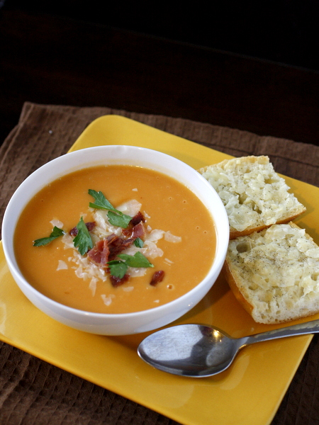 Creamy Sweet Potato Soup {with Parmesan Cheese Toasts}
