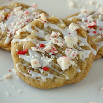 White Chocolate Chip Cookies with Peppermint Glaze