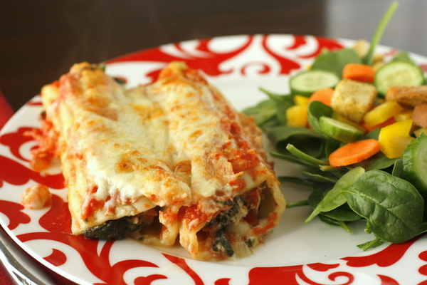 Creamy Spinach and Ricotta Manicotti