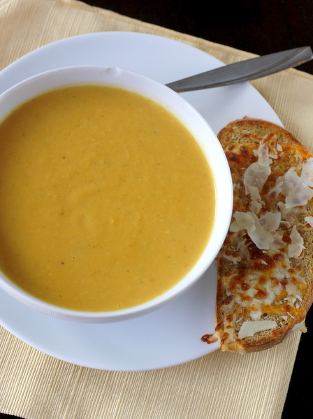 Pumpkin and White Bean Soup with Cheesy Toasts
