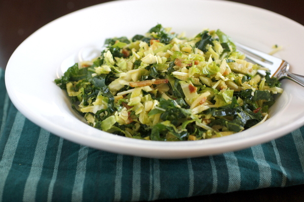 Kale and Brussels Sprouts Salad with Bacon and Parmesan