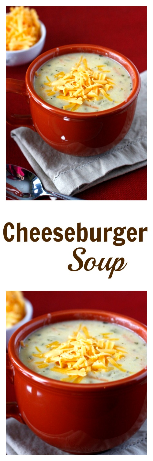 Cheeseburger Soup - hearty and delicious, you will love this creamy cheesy soup! It is a family favorite!