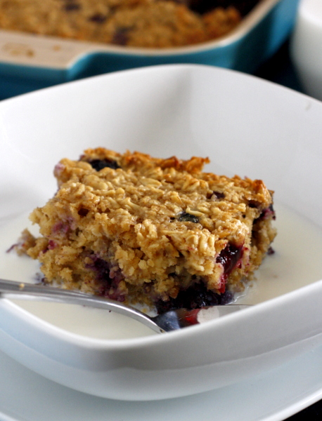 Blueberries and Cream Baked Oatmeal
