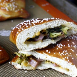 Ham and Cheddar Stuffed Pretzel Calzones