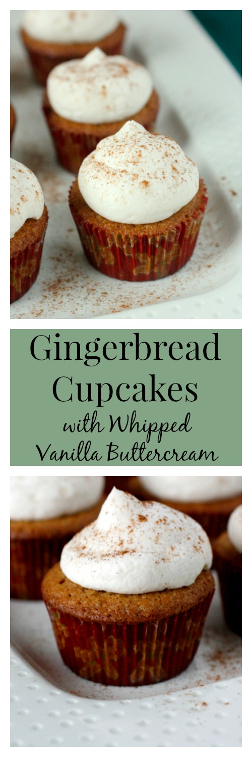 Gingerbread Cupcakes with Whipped Vanilla Buttercream