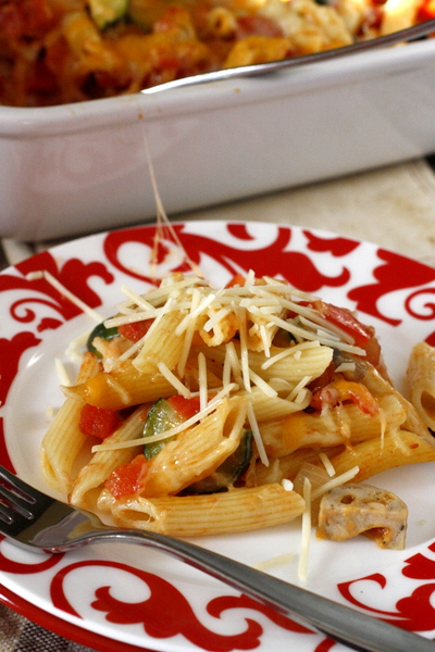 Cheesy Penne Bake with Chicken Sausage