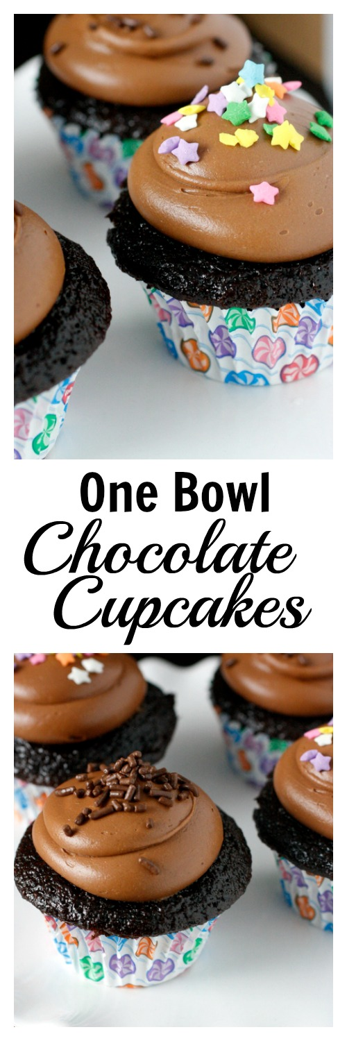 One Bowl Chocolate Cupcakes! Rich and full of chocolate flavor, this is our go to chocolate cupcake recipe!