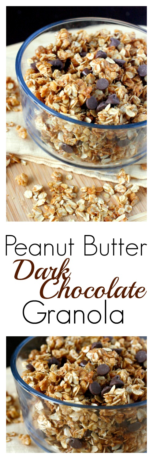 Peanut Butter Dark Chocolate Granola - An easy granola recipe full of peanut butter flavor and dark chocolate chips!
