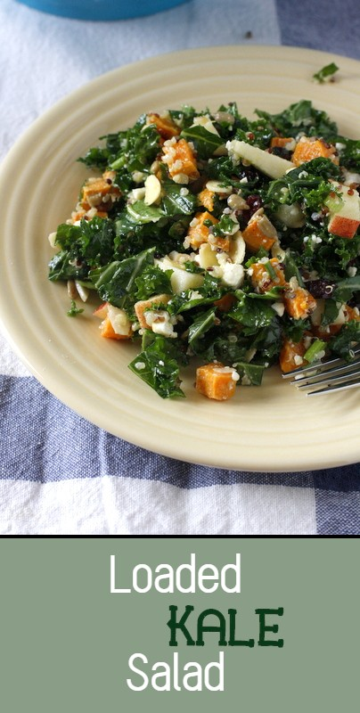 This fresh kale salad is loaded with quinoa, apples, sweet potatoes, feta cheese and walnuts, all tossed together in a homemade dressing - so good!!