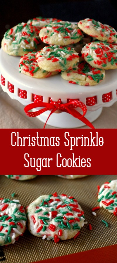 Christmas sprinkle sugar cookies are soft and chewy and loaded with festive Christmas sprinkles