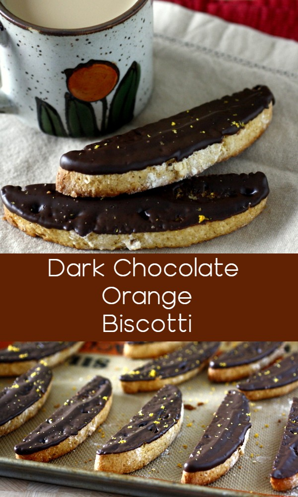 These dark chocolate orange biscotti are full of flavor and perfect for dipping in a cup of tea or coffee!