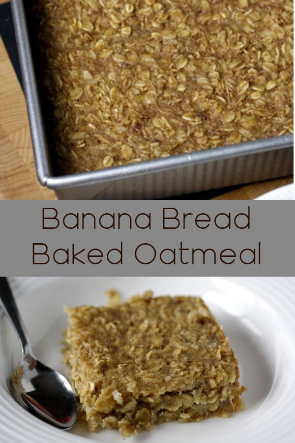 Banana bread baked oatmeal - banana bread flavored baked oatmeal that uses pantry staples! So good!!
