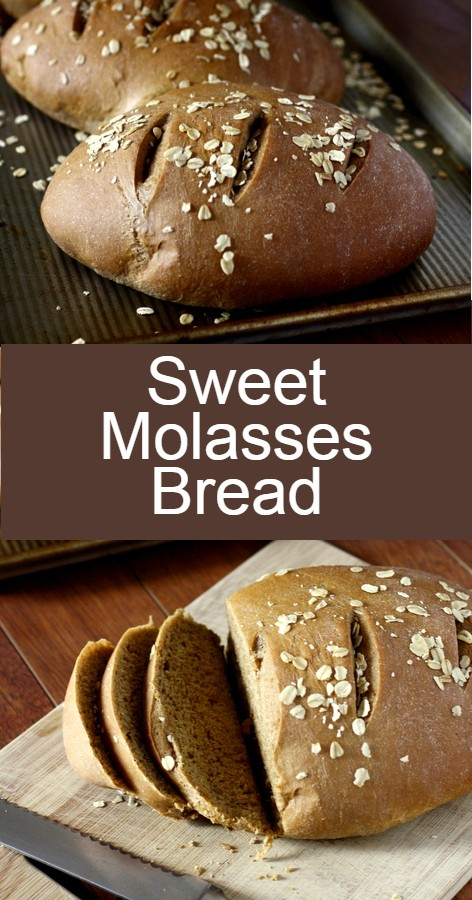 This sweet molasses brown bread, made with whole wheat, molasses, and honey, is delicious sliced warm and served with butter, or used as sandwich bread or toast the next day!